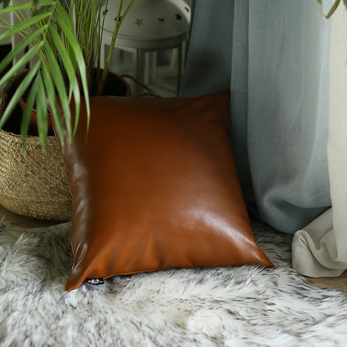 Decorative Vegan Faux Leather Square Throw Pillow Cover