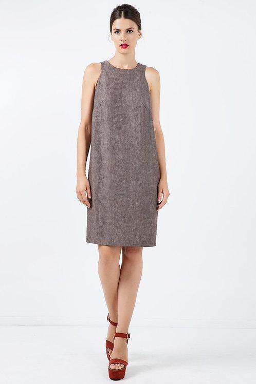 Sleeveless Brown Linen Sack Dress