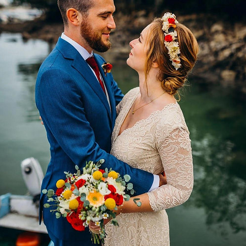 Golden Lace Wedding Dress, Vintage Inspired Maxi Wrap Dress 1124