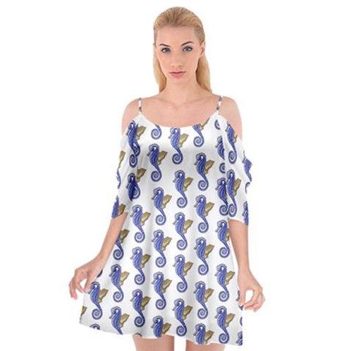 Seahorse Dress Spaghetti Strap Chiffon Shoulder Cutout Dress