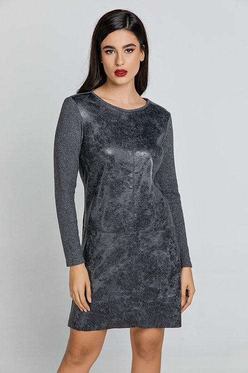 Dark Grey Dress With Faux Leather Front