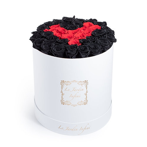 Black & Red Heart Preserved Roses - Large Round White Box