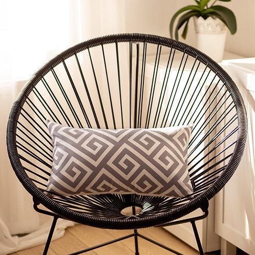 Greek Key Gray&White Decorative Lumbar Throw Pillow Cover
