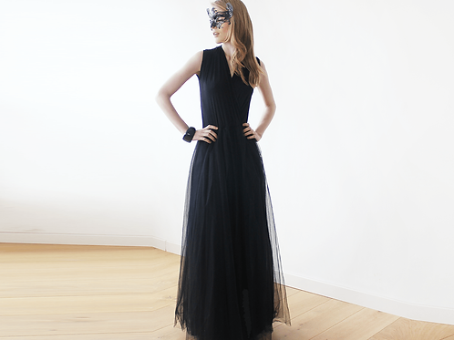 Black Sleeveless Tulle Maxi Dress SALE  1076