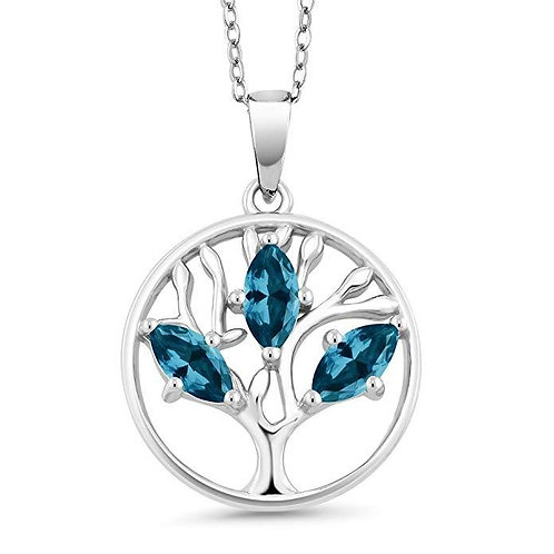 Blue Topaz Trio Marquis Cut Tree of Life Necklace in 14K White Gold