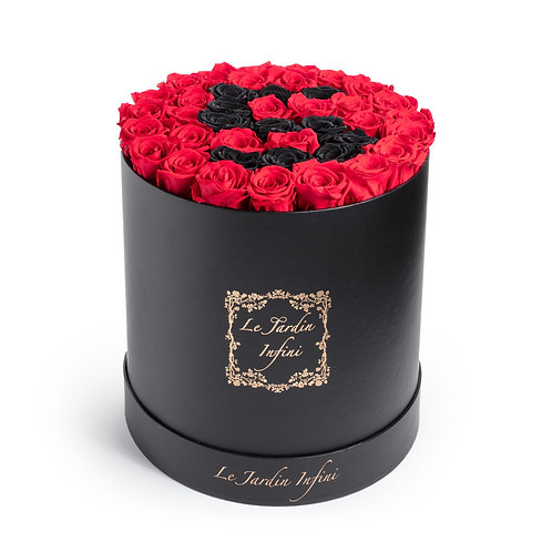 #5 Black & Red Preserved Roses - Large Round Black Box