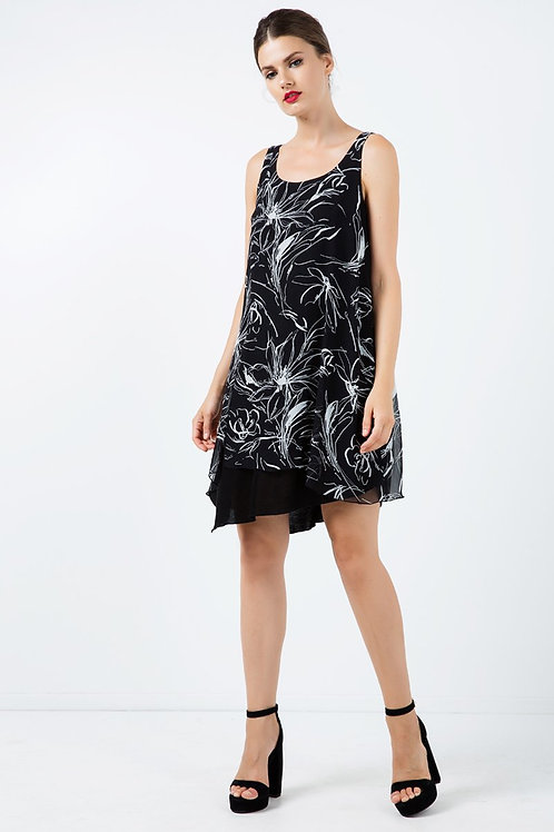 Sleeveless Print Layer Dress