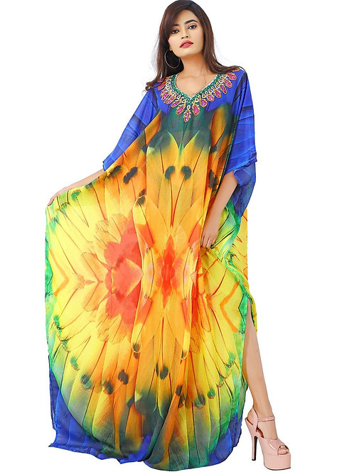 Style Up With Feathery Silk Kaftan Toned Beaded Necklace Look and Graceful Cuts