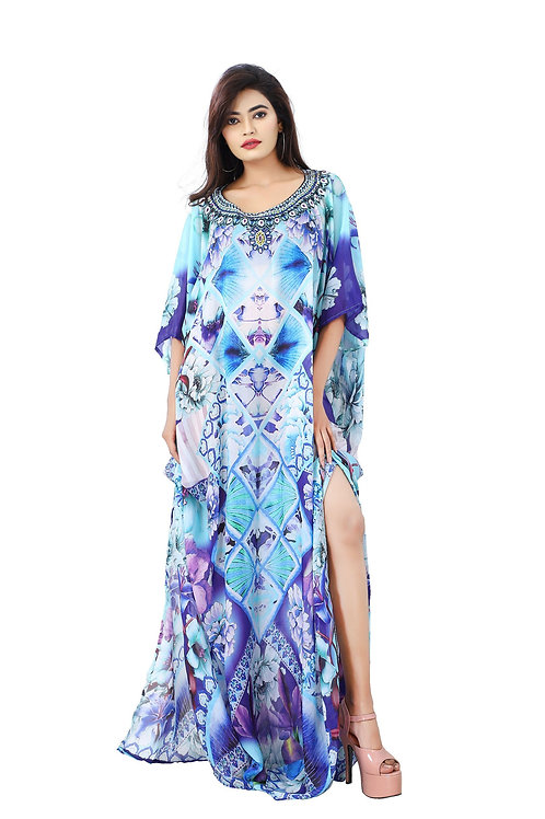 Pungent Blue Orchid Flowers Printed Silk Kaftan Pooled Up With Sultry Blue Lilie