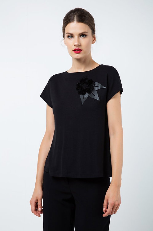 Black Applique Detail Top