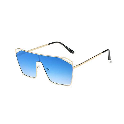 Blue Flat Top Square Sunglasses