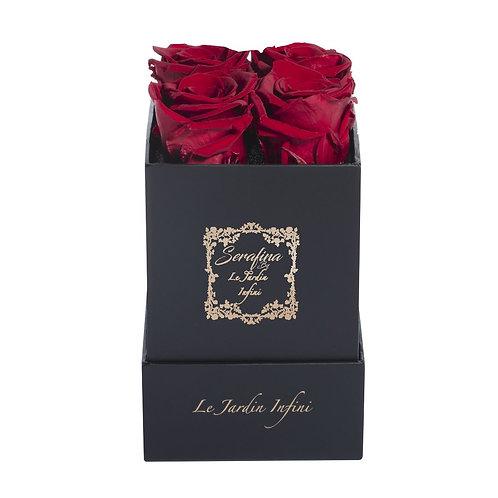 The Serafina - Red Preserved Roses - Small Square Black Box