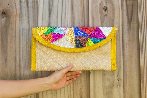 Straw Clutch Bag With Colorful Sequin. Embroidery Triangles , Yellow