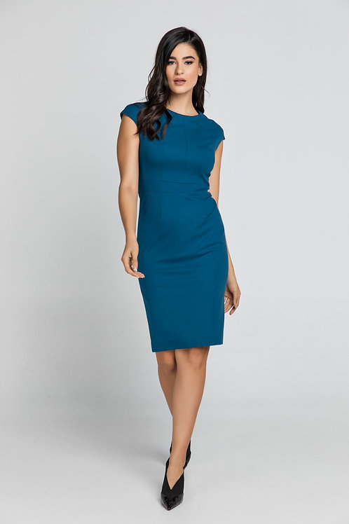 Fitted Petrol Blue Dress With Cap Sleeves by Conquista.