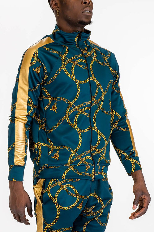CHAIN TRACK JACKET-TEAL