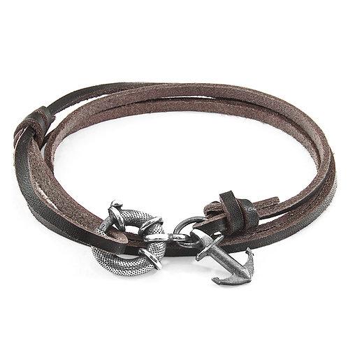 Dark Brown Clyde Anchor Silver & Leather Bracelet