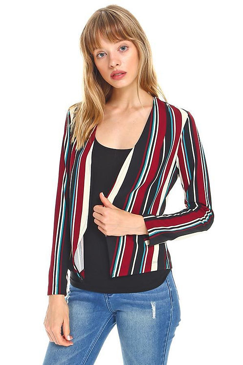 Multi Stripe Zipper Detail Blazer