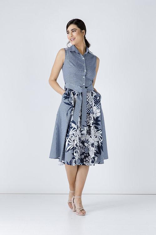 Button Detail Navy Blue Print Dress