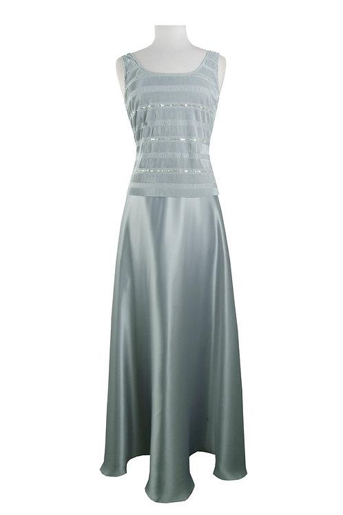 Cachet Square Neck Sleeveless Embellished Satin Dress with Jacket