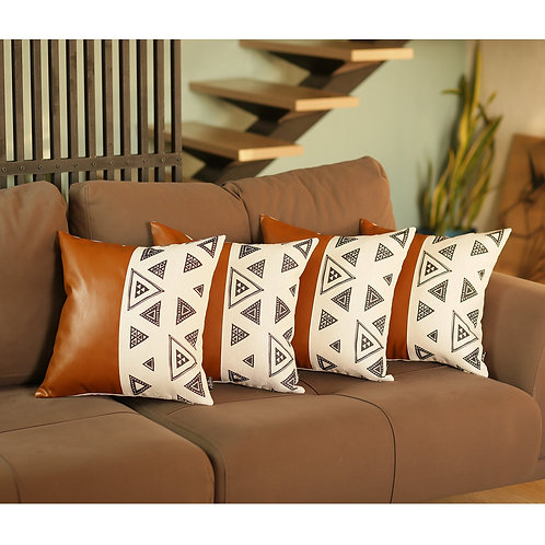 """Decorative Vegan Faux Leather Square 17"""" Throw Pillow Cover (Set of 4)"""