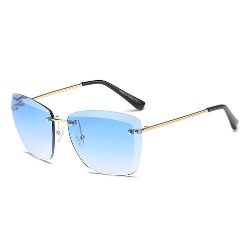 Blue Tint Rimless Square Glasses
