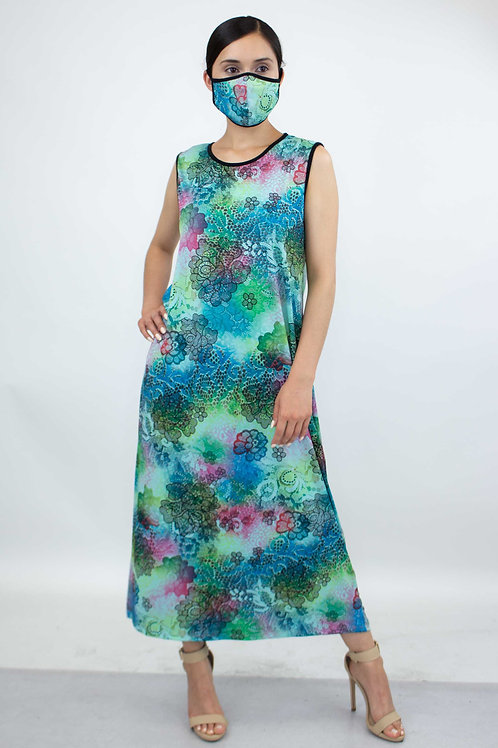 Blue Lace Floral Print Long Dress and Matching Face Mask