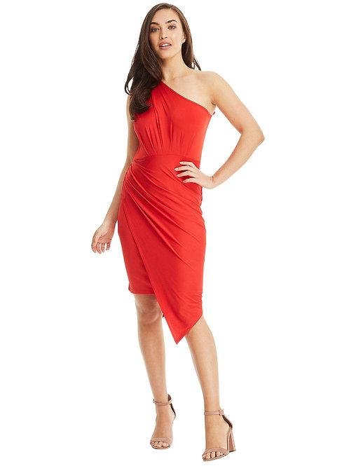 One Shoulder Asymmetrical Dress - Red