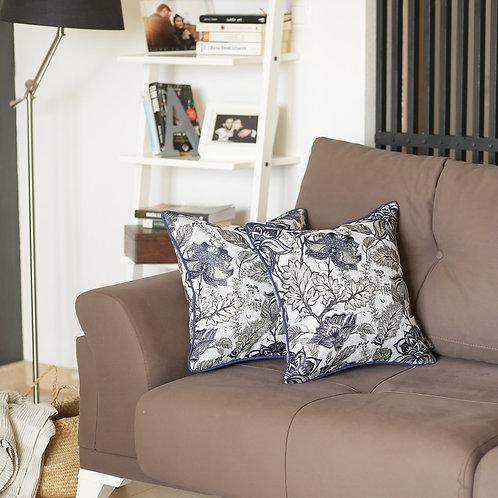 Jacquard Blue Square Throw Pillow Cover (Set of 2)