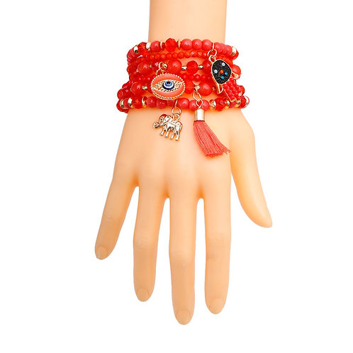 Coral Hamsa 6 Pcs Bracelets