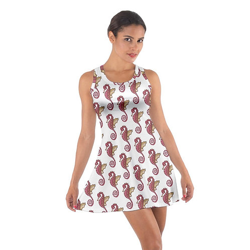 Cotton Dress Red Seahorse Pattern Cotton Racerback Dress Sharon Tatem