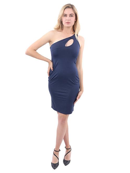 Eden Asymmetric Neckline Mini Dress - Navy