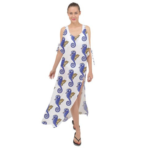 Chiffon Maxi Dress Cover Up Seahorse Pattern