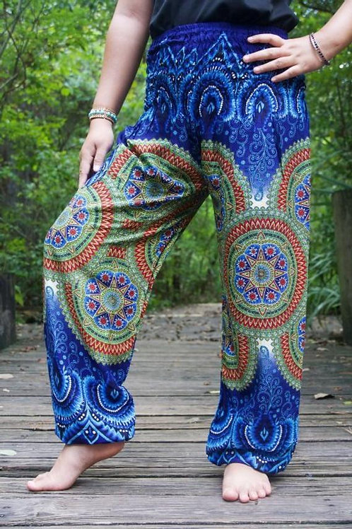 Blue Geometric Women Boho Pants Hippie Pants Yoga Pants