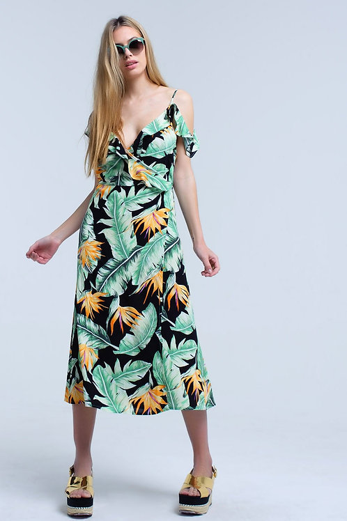 Black Midi Dress in Tropical Leaves