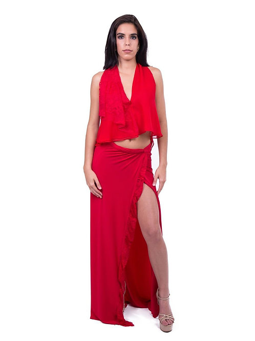 Red Sexy Top and Skirt Combination With Front Slit - By Rosaura Sias Pipenburg