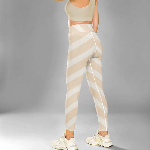 Diagonal Pale Stripes High Waist Legging