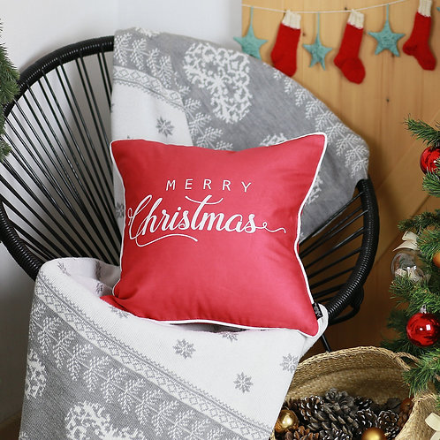 "Merry Christmas White Quote Square 18"" Throw Pillow Cover"