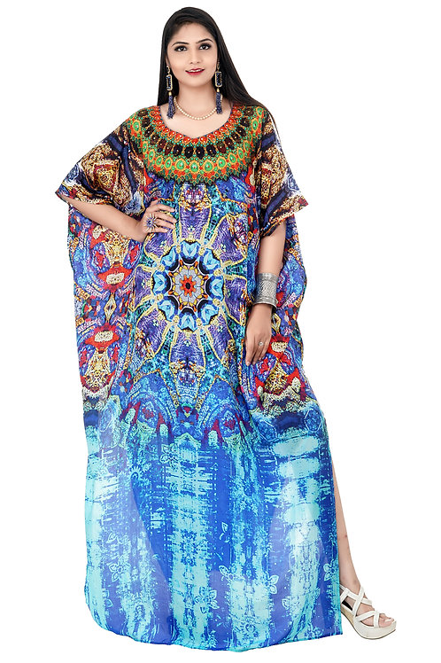 Vibrant Python Print Silk Kaftan Dress With Its Patches and Necklace Crystals