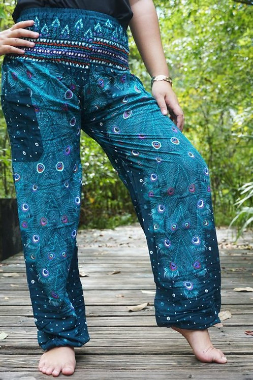 Teal PEACOCK Pants Women Boho Pants Hippie Pants Yoga