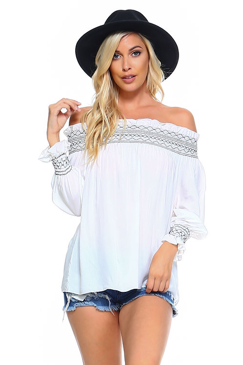 Women's Off Shoulder Stripe Smocked Elastic Top