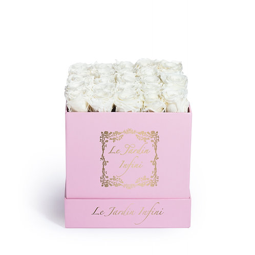 White Preserved Roses - Medium Square Pink Box