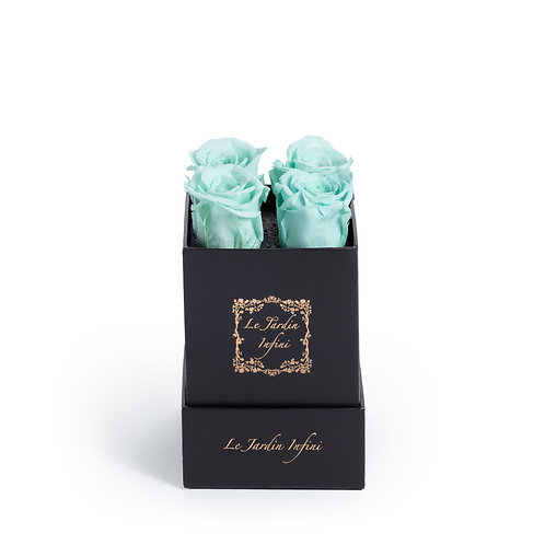 Baby Blue Preserved Roses - Small Square Black Box