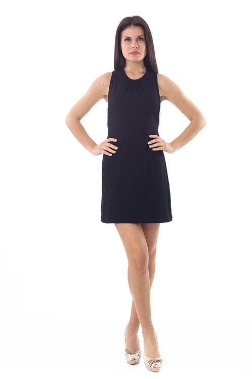 Lace Detail Stretch Mini Dress High Scoop Neck