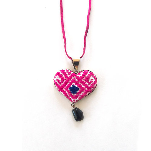San Andres Pink Heart Textile Necklace with