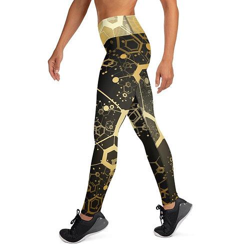 Technology Gold Black Yoga Leggings