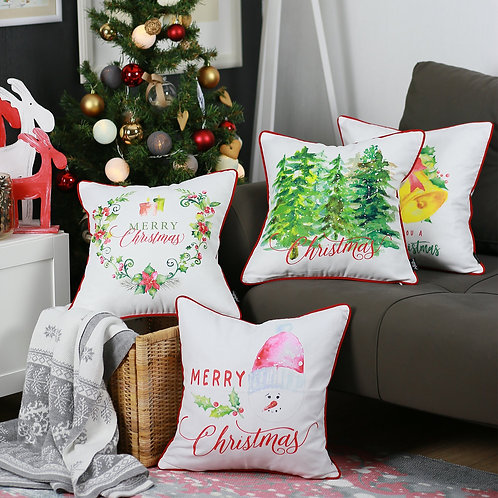 """Merry Christmas Square 18"""" Throw Pillow Cover (Set of 4)"""