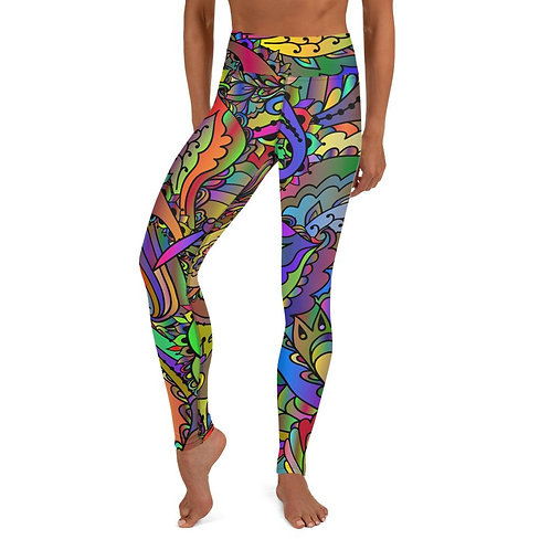 Colorful Paisley Butterfly Yoga Leggings
