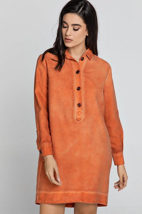 Tencel Orange Shirt Dress