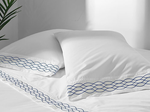 100% Supima Cotton, 400 Thread Count Percale Ogee Embroidered Hem