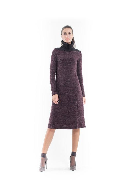 Wool Blend Polo Neck Dress